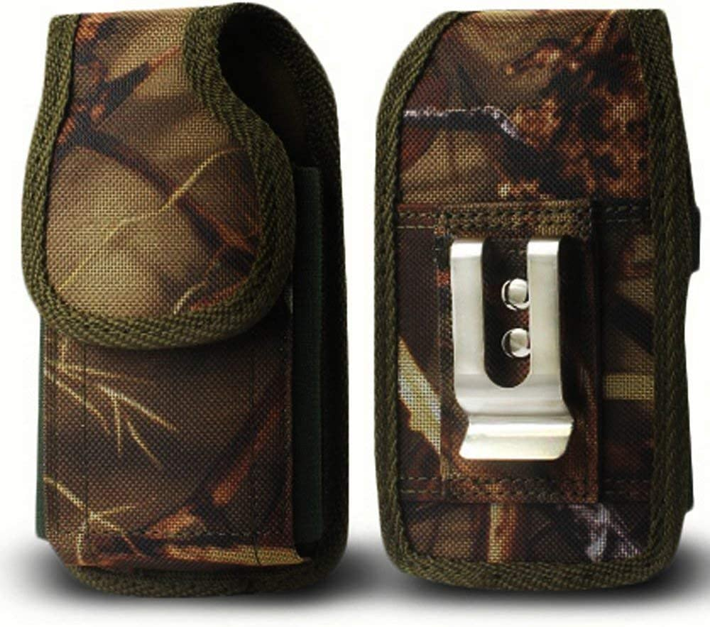 Golden Sheeps Pouch Compatible for Samsung S9 S8 S7,S6 , S6 Edge,J3,A5 XXL Size Camouflage Heavy Duty Holster Pouch with Metal Belt Clip Cover(phone with Large Thick / battery / heavy duty Case On)