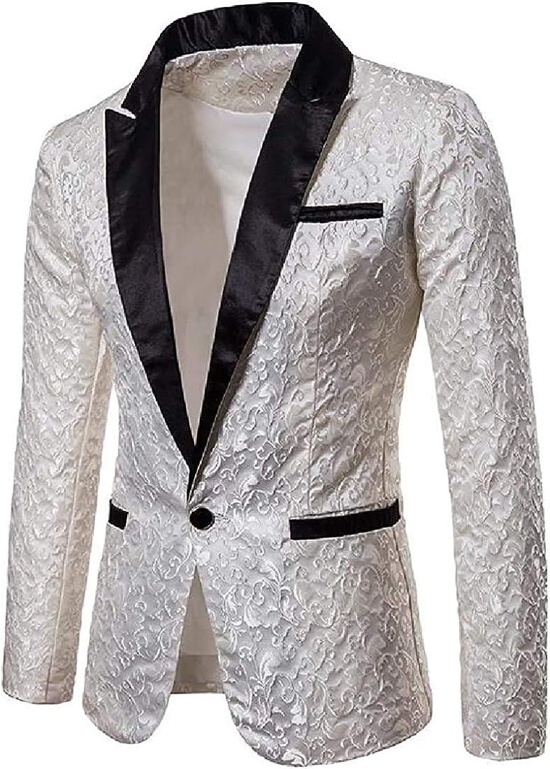 Men Solid Stylish Fall Winter Blazer Lapel Perform Dress Blazer Jacket Sport Coat