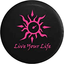 Live Your Life Tribal Sun Compass Spare Tire Cover fits SUV Camper RV Accessories Pink Ink 33 in