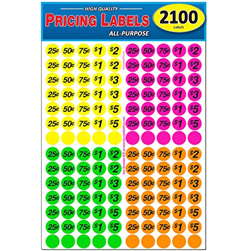 Garage Sale Pup Pack of 2100 Preprinted Pricing Labels, Bright Neon Multicolored: Yellow/Pink/Green/Orange,
