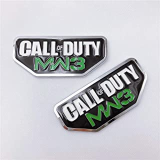 2x Metal Chrome CALL OF DUTY MW3 Car Sticker For Fender Or Tailgate 3D Badge Emblem Decal (green)