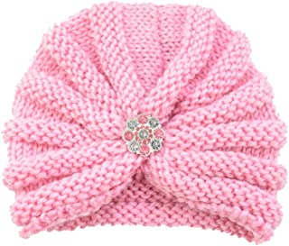 Longay Baby Toddler Girls Boys Infant Warm Winter Knit Beanie Hat Crochet Ski Ball Cap (Pink)