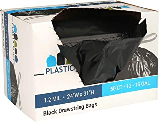 """Plasticplace 13 Gallon Trash Bags │ 1.2 Mil │ (50 Count) Black Extra Tall Garbage Can Liners │ 24"""" x 31"""""""