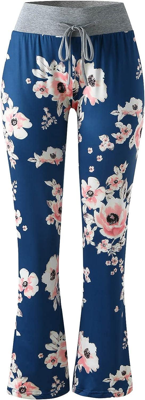 Women Pajama Pants Floral Print Nightwear Pants Wide Leg Boho Hippie Pants Drawstring Jogger Sweatpants