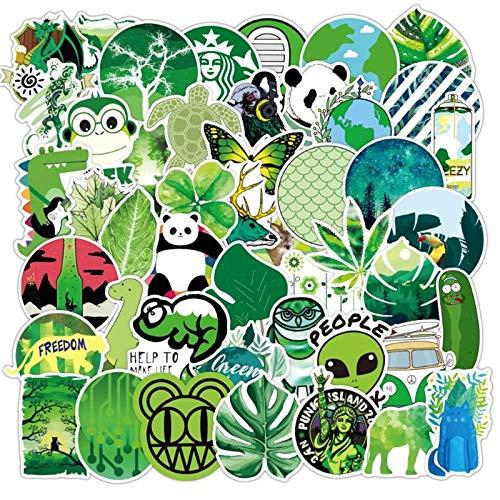 LSPLSP Pegatina de juguete para niños, color verde fresco, para motocicleta, monopatín, guitarra, impermeable, decoración de graffiti, 50 unidades