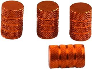 FLAMEER 4 Stks Auto Motorfiets Ventieldopjes Klepstelen Stof Aluminium Auto Wiel Ventieldopjes - Oranje