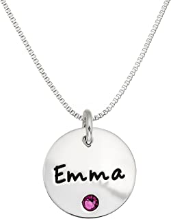 Personalized Sterling Silver Round Name Charm Necklace with Choice of Swarovski Birthstone Setting.