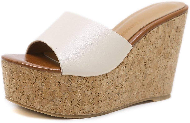 Beautiful - Fashion Women High Heels Platform Sandals Peep Toe Slip on Cork Heeled Wedge Sandals Slide shoes