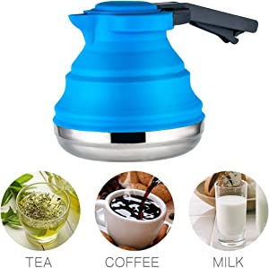 Dltsli portable Silicone Collapsible Tea Kettle Outdoor Camping Travel Kettle Foldable (1.2L Blue)