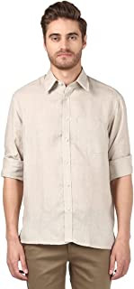 Colorplus Full Sleeve Regular Collar Classic Fit Medium Fawn Linen Solid Shirt for Men