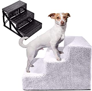 Pet Stairs | Dog Cat Gate Stairs | 3Step Pet Dog Ladder Ramp | Non-Slip Stepper | Lightweight & Removable | for Small Dogs...