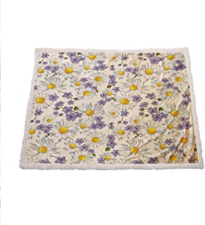 Zara Henry Floral Throws and Blankets, Blossoming Chamomile Wild Flower Summer Background Spring Natural Pattern White Yellow Purple Wool Blanket