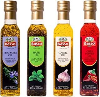 Infused Extra Virgin Olive Oil for Dipping & Tasting   All Natural   4 pk Gift Set (Gift Box Included)   Great Corporate G...