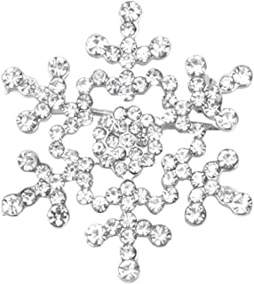 25f39186780 Fanct Christmas Jewelry Snowflake Brooch Pins Sparkling Rhinestone Wedding  Bridal Gift