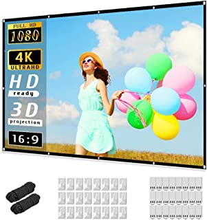 Projector Screen 120 inch, Taotique 4K Movie Projector Screen 16:9 HD Foldable and Portable Anti-Crease Indoor Outdoor Pro...