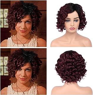 Quantum Love Ombre Burgundy Lace Part Human Hair Wigs Loose Deep Wave Side Part Wig Glueless Brazilian Virgin Human Hair Short Wavy Wig for Women