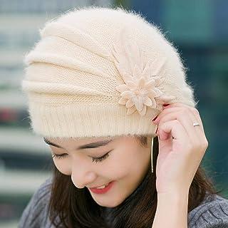 Gorro de invierno para mujer, diseño de boinas de piel de conejo, color beige, de Weichuang.