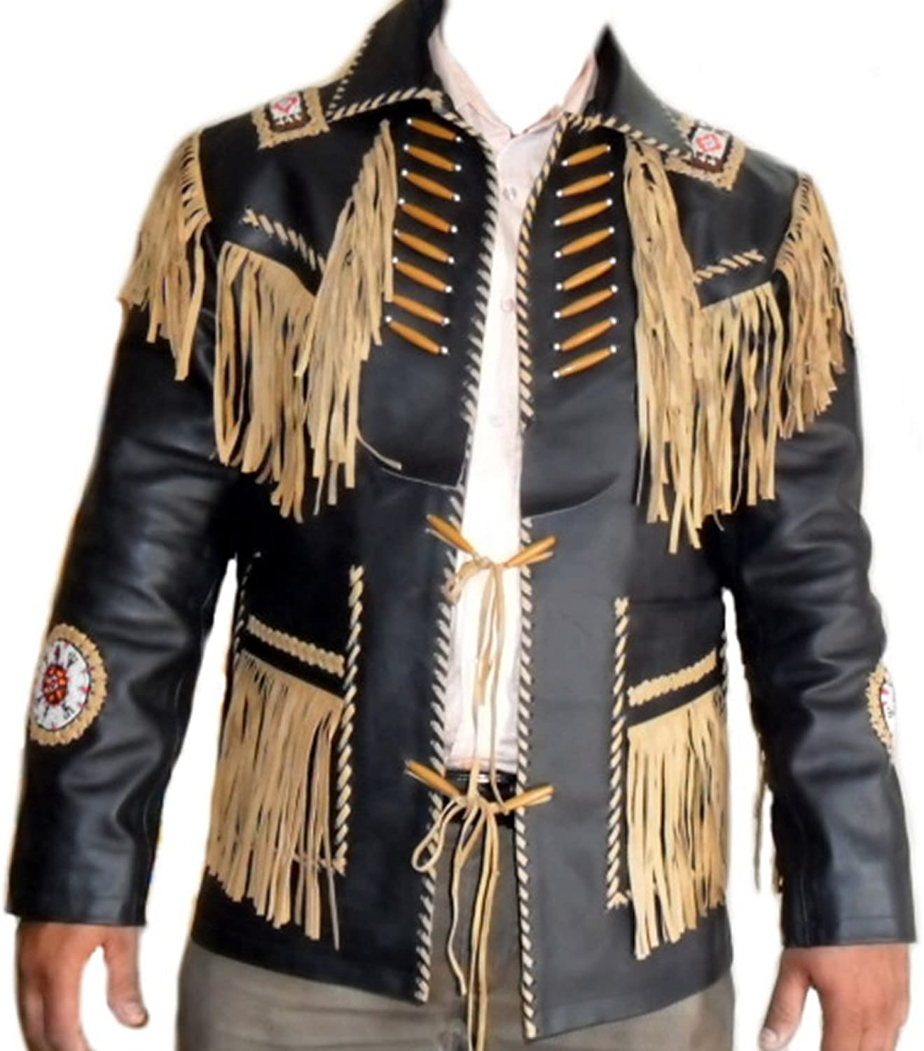Classyak Western Style Leather Jacket, Fringed, Bones & Beads, Xs5xl