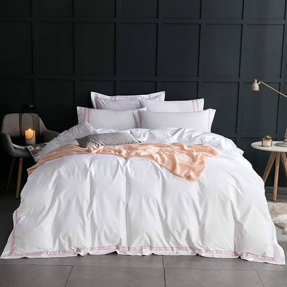 レンジ予見する祖先4ピースピンクと白のストライプ寝具ホテル品質ベッドセット綿100%ベッドカバー掛け布団枕カバー付きフラットベッドシートキルトなしホワイトサテンベッドカバーセット白とピンクの布団カバー (Size : King)