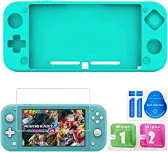 Silicone Suit for Nintendo Switch Lite,Switch Mini Game Console Protection Soft Rubber Sleeve+9H HD Tempered Glass Screen Protectors and Accessories (Turquoise)