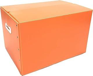 折りたたみ式プラダン製収納BOX 5枚セット (オレンジ) 53cm×38cm×33cm 取っ手付き 薄型 折りたたみ マジックテープ 収納上手