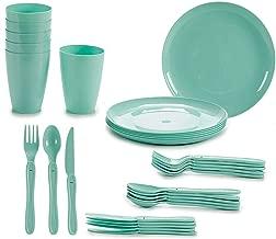 TU TENDENCIA ÚNICA Juego de Vajilla de Plástico para Picnic o Camping de 31 Piezas. Incluye: Platos, Cubiertos, Vasos y Caja de Almacenamiento