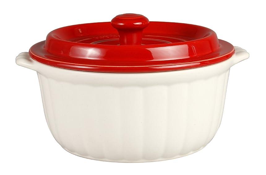 慣れている記事フリンジ竹泉窯 竹政製陶 ウォーターリッド鍋 ラウンドL 赤/白 T-0007-026