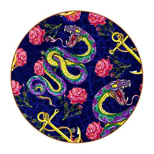 Posavasos Rosa de Ancla de Serpiente 6 Pack Posavasos de Antideslizante de Doble Cara Diseño único y Lindo Estilo, Protección de Mesa Coasters 11cm