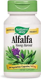 Nature's Way Organic Alfalfa Young Harvest, Premium Formula, 405 mg, 100 Vegan Capsules