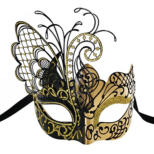 CCUFO [Flying Butterfly] Gold/Black Face with [Sparkling Wing] Laser Cut Metal Venetian Women Mask for Masquerade/Party / Ball Prom/Mardi Gras/Wedding / Wall Decoration