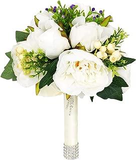 Honey Love Wedding Bridal Bouquet Crystal Bridesmaid Bouquet Peony Rose Artificial Flowers for Wedding Church
