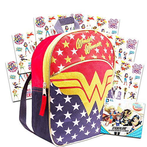 Wonder Woman Toddler Preschool Backpack Set - Bundle Includes Deluxe 11 Inch Wonder Woman Mini Backpack and Stickers (Wonder Woman School Supplies)