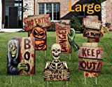 NIGHT-GRING Yard Signs for Halloween Props Decorations Outdoor | 6 Pack Track-or-Treat Corrugate Yard Stake Signs | Large Friendly Halloween Yard/Lawn Decorations | Warning Yard Sign Stakes