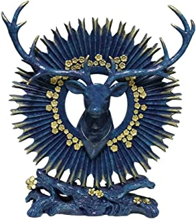 Reindeer Sculpture Decoration Resin Statue European American Style Living Room TV Cabinet Decoration Gift,Bronze