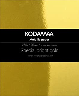 KODAMAA Premium Shimmer Art Craft Gold/Silver Metallic Paper, Multipurpose Cardstock Perfect for Festival Crafting, Laser Printing, Gift Packaging (25 Sheets)