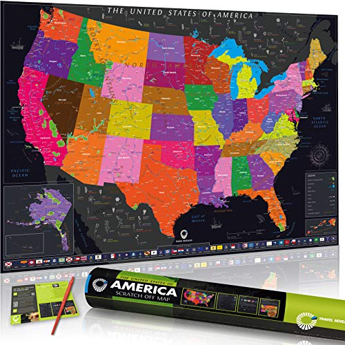USA Scratch Off Map by Travel Revealer: USA Scratch Map 17 x 24. USA National Parks Scratch Off Map + State Flags. Silver Deluxe State Flowers Edition + Gift Tube + Scratch Tool