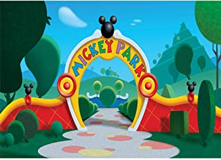 Mickey Mouse Clubhouse Wall Backdrop 7x5ft Spring Geenery Mickey Park Photo Background Kids Vinyl Photographic Backdrops Happy Birthday Party Banner