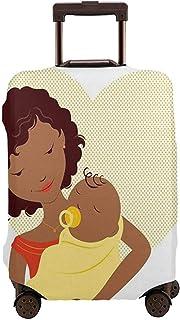 Funda de Equipaje de Viaje Mamá Africana sosteniendo a su bebé recién Nacido en un Protector de Maleta de corazón Punteado Grande Tamaño L