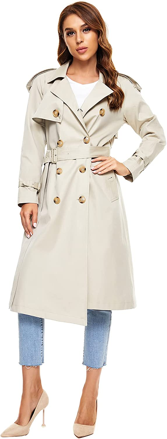 WAIDONGBEI Women's Trench Coat Genuine Free Shipping New sales with Double-breasted B Rain