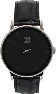 Ethan Eliot Classic Minimalist Men's Watch, Lincoln 40mm Silver Watch for Men, Stainless Steel Silver Case, Black Face & Genuine Black Croc-Embossed Leather Band, 5ATM Watch (EE40-SB35CBK)