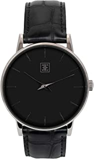 Classic Men's Watch, Oxford 40mm Silver Watch for Men, Stainless Steel Silver Case, Black Dial & Genuine Brown Croc-Embossed Black Leather Strap, Water Resistant Watch (EE40-SW34CBK)