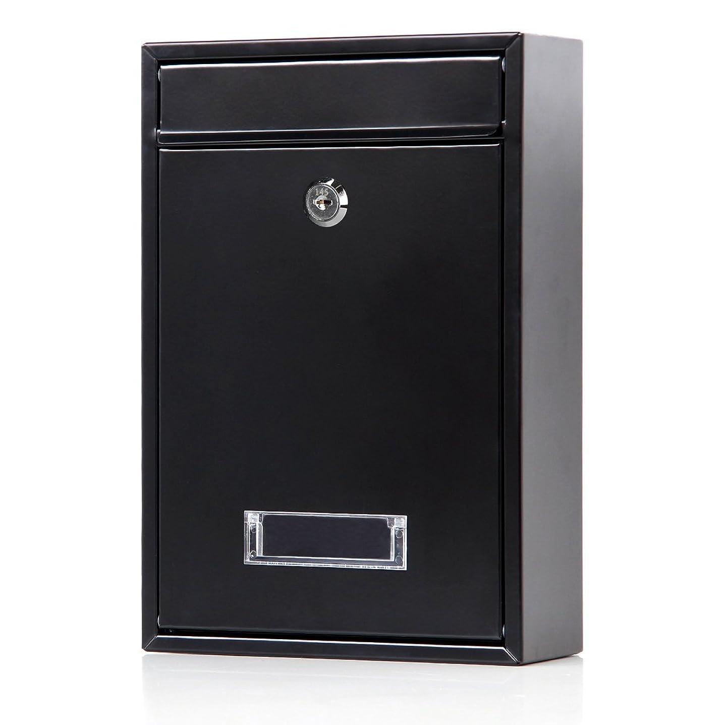 露骨な望み速報Jssmst(ジェスマット) メールボックス ポスト 郵便受け 壁掛け キーロック式 鍵付き 金属製 Mail-06 (ブラック キーロック)