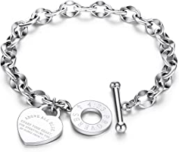 Elelife Gifts Personalized Love Shape Bracelet for Women Girls Girlfriend