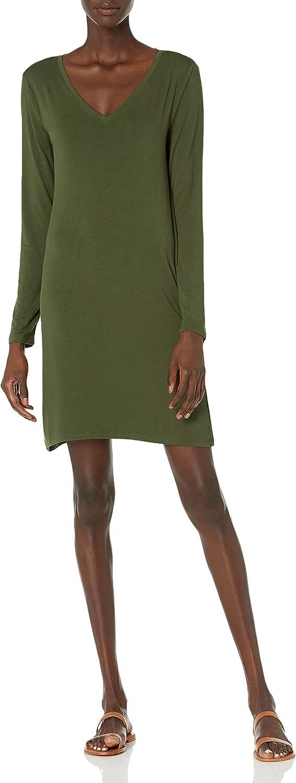 Daily Ritual Women's Jersey Long-Sleeve V-Neck T-Shirt Dress