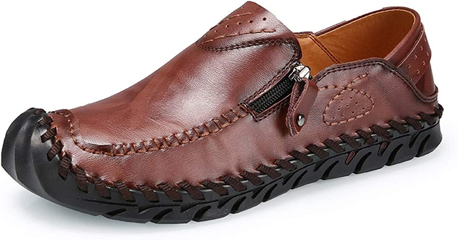 Ino Durable Classic Driving Oxford shoes for Men PU Leather Comfortable Business Casual shoes Ant-Slip Flat Lined Zipper Collision Avoidance Round Toe Slip-on