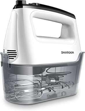 SHARDOR Hand Mixer Electric, Handheld Mixer With 2x6 Speed, Electric Mixer for Dough, Egg, Cake, 5 Stainless Steel Accessorie