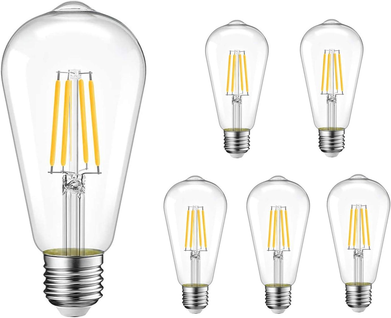Vintage Edison LED Bulb,Antique 40W Vintage Edison Bulb,E26 Light Bulb Led Bulb 400 Lumens 2700K,Pack of 6(Non Dimmable)