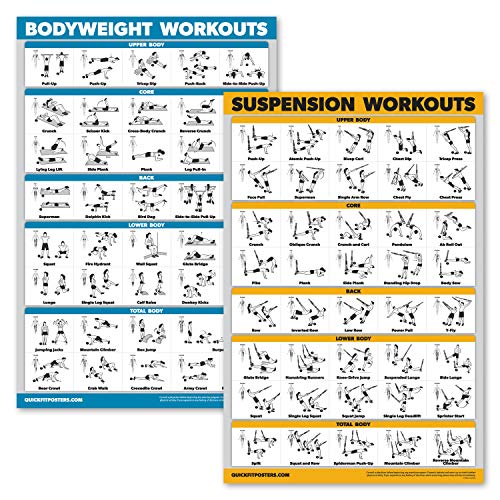 QuickFit 2 Pack - Suspension Workouts and Bodyweight Exercise Poster Set - Set of 2 Fitness Charts (Laminated, 18' x 27')