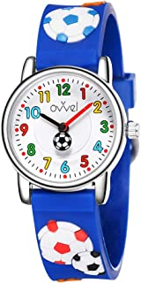 Ovvel Boys Watch – Pretty and Cute Kids Wristwatch with Teaching Analog Display Time Teacher - Japanese Quartz - Blue Soccer