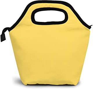 Soft Neoprene Lunch Tote Bag Insulated Lunch Bag Food Organizer Leakproof Cooler Lunch Box for Men Women Mustard Pure Yellow Background Customized